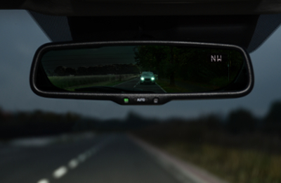 Auto-Dimming rearview mirror with compass